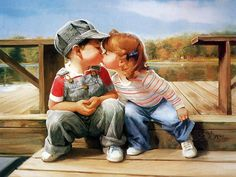 Oil painting of cute kissing kids