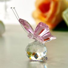 Crystal Flying Butterfly Crystal Ball Base Figurine Collection...
