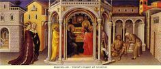 Gentile da Fabriano. The Presentation at the Temple. From the predella of the alterpiece in the Strozzi Chapel at the Church of Santa Trinita in Florence. Tempera on wood. Louvre