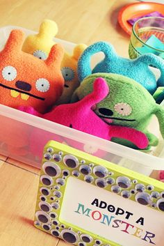 Monster party - adopt a monster! -- wish I would have seen this idea for my monster party!