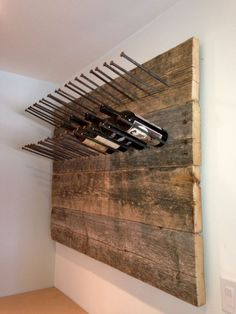 Build the wine rack yourself and store the wine bottles properly- Weinregal selber bauen und die Weinflaschen richtig lagern rustic wine rack itself build simple wooden wine rack - Pallet Pool, Rustic Wine Racks, Patio Tiles, Wine Storage, Pool Storage, Record Storage, Storage Crates, Diy Holz, Diy Furniture
