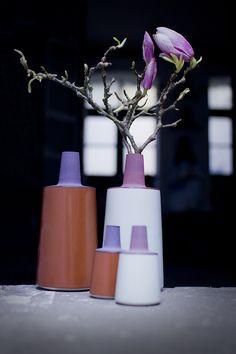 TONE vases - cast stoneware with handpainted engobe and colored glazes. http://tina-b-ceramics.dk/