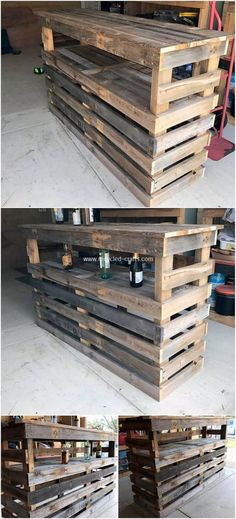 Pallet Counter, Wood Pallet Bar, Wood Pallet Furniture, Recycled Furniture, Wooden Pallets, Woodworking Store, Woodworking Guide, Popular Woodworking, Custom Woodworking