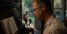 """Cinematography in the film """"The Tree of Life"""" Great use of foreground & background with characters."""