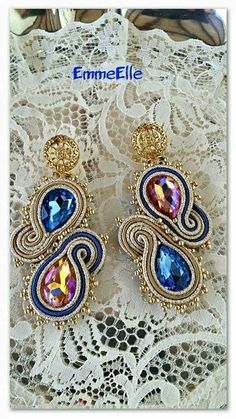 Www.facebook.com/EmmeEllebymarilu Soutache Pendant, Soutache Earrings, Drop Earrings, Diy Jewelry, Jewelery, Handmade Jewelry, Jewelry Design, Shibori, Ring Necklace