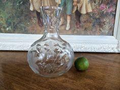 AMERICAN BRILLIANT CUT GLASS CARAFE  ABP Floral & Bullseye