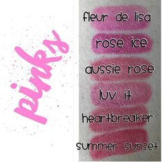 Pink color swatches . . . (Keep in mind, colors will look different on the lips but this gives you a good comparison between colors) #lipcolor#lipsense#senegence#makeup#jointhefun#brightlips#boldlips#purplelips#longlastinglipcolor#becomeadistributor #liplovewithbecky#waterproof#smudgeproff#kissablelips#kissprooflips