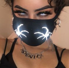 Neon glowing half face mask, anonymous at the party, good original gift surprise, balaklava, cosplay Boujee Aesthetic, Badass Aesthetic, Bad Girl Aesthetic, Aesthetic Grunge, Aesthetic Pictures, Aesthetic Makeup, Estilo Gangster, Gangster Girl, Fille Gangsta