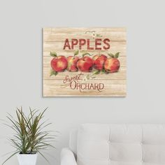 """GreatBigCanvas """"Apple Orchard Sign"""" by Susan Winget Canvas Wall Art, Multi-Colored Apple Farm, Apple Orchard, Fruits Images, Craft Day, Detail Art, Rooms Home Decor, Dust Collection, Autumn Home, Vintage Walls"""