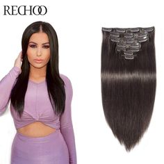 2016 Hot Sell Clip In Straight Hair Peruvian Virgin Full Head Darkest Brown Extensiones De Pelo Natural Remi Hair Rechoo Hair