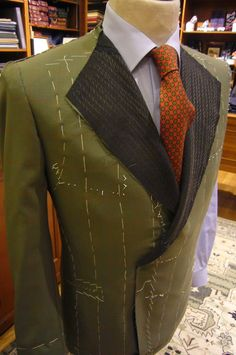 Making a bespoke jacket made with Harrisons of Edinburgh green tissue. Perfect choice for this winter.