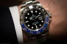 Here you go, folks. Fresh from the booth on the first official day of Basel World 2013, you're looking at in the metal photos of the brand new Rolex GMT-Master II with blue and black Cerachrom bezel. Click through for more live photos (including wrist shots!), details, and pricing!
