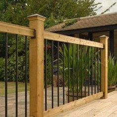 Railsimple Wood Railing Kits - Traditional Series Pine - Straight Black Baluster…
