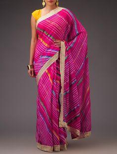 Fuschia Multicolor Chiffon Khari Print Leheriya Lace Saree  Jaypore.com