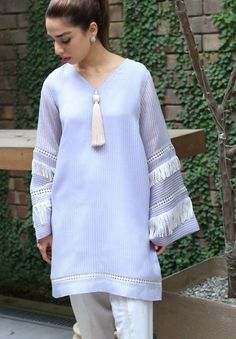 50 Latest sleeves design for kurti to try in 2019 Pakistani Fashion Casual, Pakistani Dresses Casual, Pakistani Dress Design, Kurti Designs Party Wear, Kurta Designs, Blouse Designs, Stylish Dresses For Girls, Stylish Dress Designs, Sleeves Designs For Dresses