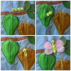 Quiet Book Page 3. Caterpillar/butterfly life cycle, using zips on cocoons. By elsieandjim  facebook.com/elsieandjim1