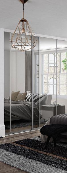 Premium Midi: Vertical Split panel Mirror / Grey Mirror doors with Satin Silver frame