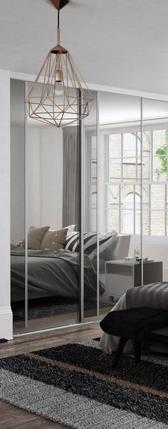 Premium Midi: Vertical Split panel Mirror / Grey Mirror doors with Satin Silver frame