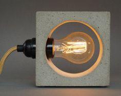 2 bedside lamps CUBO concrete / textile cable / от UNiiKATshop