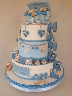 baby shower cake w/ fondant figures.