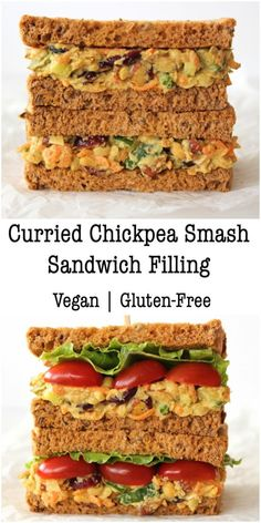 Curried Chickpea Smash Sandwich Filling Bit of the Good Stuff Vegetarian Sandwich Fillings, Vegan Sandwich Filling, Chickpea Salad Sandwich, Sandwich Recipes, Sandwich Ideas, Vegetarian Cooking, Vegetarian Recipes, Cooking Recipes, Vegetarian Lunch