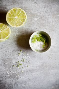 LIME ZEST SALT ~~~ recipe gateway: this post's link + http://www.ladyandpups.com/2013/06/17/poormans-lobster-roll-eng/ + a spicy version at http://www.gourmettraveller.com.au/recipes/recipe-search/feature-recipe/2011/5/pork-scratchings-with-spicy-salt/ [tarteletteblog] [ladyandpups] [gourmettraveller]