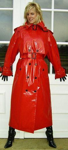 Red PVC Raincoat.
