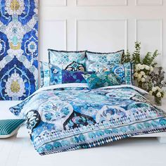 The Eva Teal quilt cover set features a modern bohemium gypsy inspired pattern and is printed on a pure cotton that is highlighted by mini check pattern that is woven into the fabric which gives the d. King Size Quilt Covers, Quilt Cover Sets, Quilt Sets, Teal Quilt, Dobby Weave, Queen Size Quilt, Cotton Quilts, Cotton Fabric, Bed Mattress