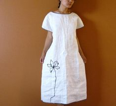 Items similar to custom Black lotus on white linen dress reversible wear on Etsy White linen dress by Anny Schoo Clothing Dress Outfits, Casual Outfits, Fashion Dresses, White Linen Dresses, Apron Dress, Mode Style, Sewing Clothes, Dress Patterns, Designer Dresses