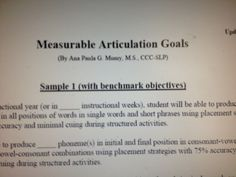 Measurable Articulation Goals  (By Ana Paula G. Mumy, M.S., CCC-SLP) The Speech Stop. Pinned by SOS Inc. Resources @sostherapy.