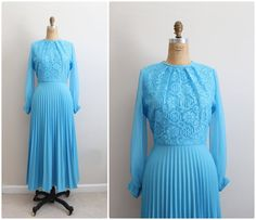 70s Pleated Turquoise Maxi Dress / 1970s Dress / by PARASOLvintage