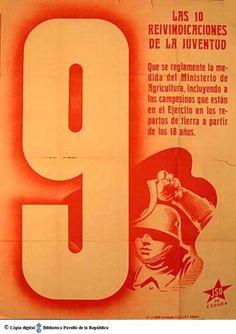 Las 10 reivindicaciones de la juventud : 9, que se reglamente la medida del Ministerio... :: Cartells del Pavelló de la República (Universitat de Barcelona)