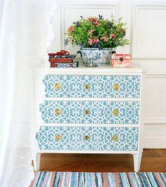 I can feel a project coming my way!!! I like the stencil, but have to find the perfect one & color so I can to this with my night stands.
