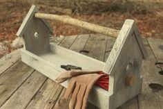 Palletwood  Birdhouse Tool Caddy, Garden Tool Holder, Rustic Wood Tool Box, Garden Tote, Reclaimed Wood Caddy,,Birdhouse Flower Box