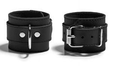 Bdsm Leather Restraints  2'' Cuffs Black Stitched by Oddoleather, $30.70