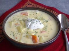 Ogórkowa (Polish Dill Pickle Soup) - - Putting pickles in soup may sound weird but once you try it you can't stop eating it. It is a nice blend of creamy and tangy. Soup Recipes, Cooking Recipes, Chilli Recipes, Bean Recipes, Pesto, Polish Recipes, Polish Food, Gel Polish, Crockpot