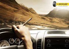Nous sommes d'accords fumer n'est pas bon pour la santé, mais cette publicité a le mérite d'être très bien pensée. #pneus #Dunlop