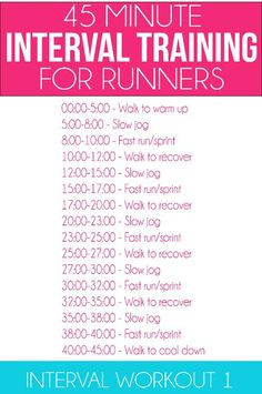 interval workout for runners along with eight weeks of other running workouts and healthy meal plans!Great interval workout for runners along with eight weeks of other running workouts and healthy meal plans! Lose Weight Running, How To Lose Weight Fast, Losing Weight, Lose Fat, Weight Loss Plans, Best Weight Loss, Good Running Songs, Running Tips, Running Plans