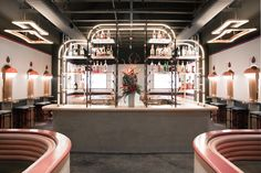 The latest (and coolest) bar designed by Home Studios, Bibo in LA, was inspired by Memphis, Josef Hoffmann, Alvar Aalto, and French New Wave cinema.