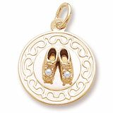Baby Shoes With Pearls On A Disc Gold Charm http://www.charmnjewelry.com/gold-charms.htm  #GoldCharm