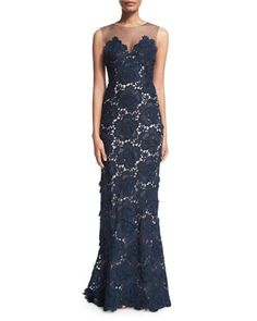 Sleeveless+Floral-Lace+Column+Gown++by+Catherine+Deane+at+Neiman+Marcus.