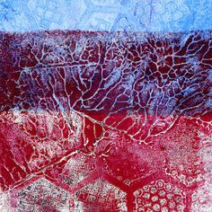 Gelli Monoprinting with Molding Paste Texture Plates This print is simply printed as two layers, partially overlapping.