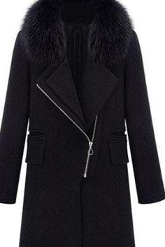 Lapel Fur Collar Zippered Black Coat