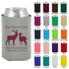 100 Custom Wedding Koozies  The Hunt Is Over  by MyWeddingStore, $99.00 I like this one better you know we gotta have beer koozies at my wedding