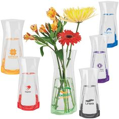 Your company marketing campaign will be in full bloom when you select this lovely item as your featured giveaway. The Precious Petals Vinyl Vase includes a mailing envelope for added convenience. This amazing, portable, colored vinyl vase is flat until filled. Choose from our bright color choices and add your logo to help your brand! What a wonderful choice for flower shops and gift shops. Order yours today to help your business!