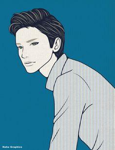 #illustration #drawing#art#design #fashion #hair #hairstyle #face#design #イラスト #イラストレーション #アート #男性イラスト #ドローイング #絵 #make #男 #メンズ #man #men