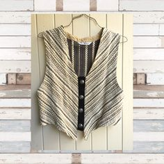 "SALE Vintage Chevron Boho Vest Chevron tapestry striped best with all creamy neutral @ pewter buttons. Fully lined. Wear open for a very boho look. bar None. Fits like a men's small or ladies medium/large. No tag. Measures 19"" across widest part of front. Bar None Jackets & Coats Vests"