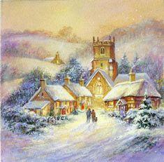 Christmas Scenery, Retro Christmas, Christmas Pictures, Christmas Art, Winter Christmas, Xmas Holidays, Watercolor Christmas Cards, Winter Art, Decoupage