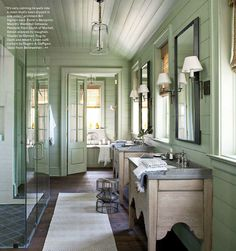 Rustic French Country Bathoom from Cote Sud home decor magazine from France.A hallmark of French Country Look is a painted and distressed furniture, and walls that have a crumbling old plaster feel.