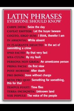 Useful Latin phrases